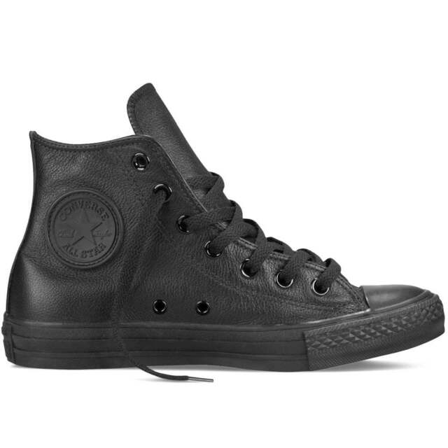 af4b53377c449a Converse Unisex All Star Hi Leather Lace-up Trainer Monochrome Black ...