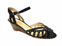 Ladies Womens Mid Wedge Heel Ankle Strap Peep Toe Sandals Shoes Size 3-8