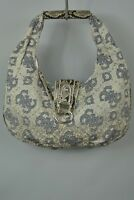 Designer Look Handbag Blue Grey Snakeskin, Silver Flap Zipped Main Compartment