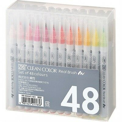 New Kuretake ZIG Real Brush Pen Clean Color 48 Set RB-6000AT48V F/S Japan Import