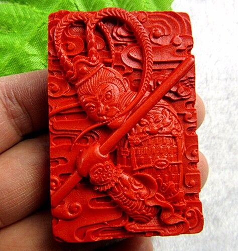 Belle Unique Rouge Cinabre Sculpté Roi Singe Pendentif Bead Vk3572