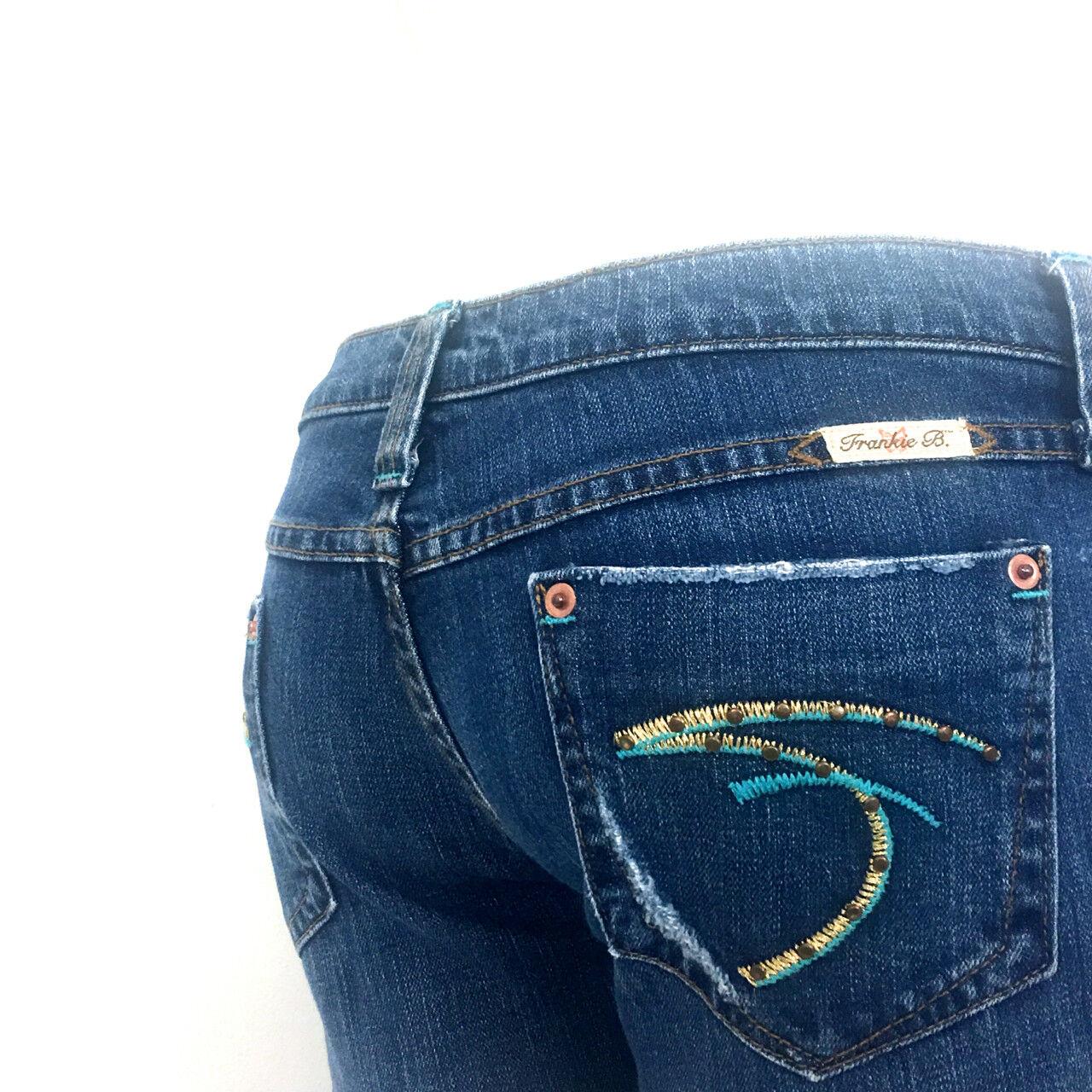 Frankie B Jeans Studded F Stitch Pk Sz 6 8x34 Ultra Low Stretch Slim Super Flare
