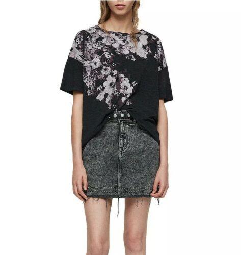 All Saints XS//S T-shirt Tee Top Noir Motif Floral Bleu Décontracté Casual Neuf Avec étiquettes RRP £ 45