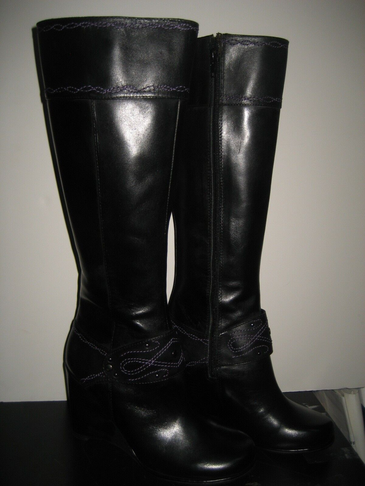 250 NEW Exchange Charles David Womens US 6 Wedge Black Leather Knee High Boots