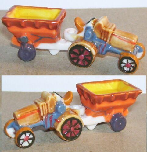 TRACTEUR AGRICOLE MARRON REMORQUE MARRON  /& JAUNE FEVE PORCELAINE 3D 1//160