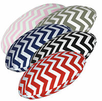 ae+5  Zig Zag Wave Pattern Round Cotton Canvas Cushion Cover/Pillow Case Custom