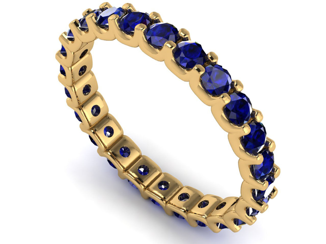 2.10Ct Round Sapphire Shared U-Prong Eternity Wedding Ring 10k Yellow gold AAA