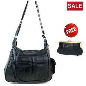 Ladies-Real-Leather-Handbag-Crossbody-Long-Shoulder-Strap-Black-Travel-Work-Bag