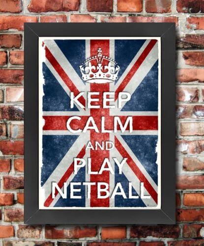 KC28 Framed Vintage Style Union Jack Keep Calm Play Netball Funny Poster A3//A4
