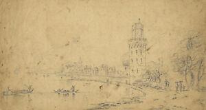 Lady Bryant, Wesel, Rhine, Germany – Original 19th-century pen & ink drawing