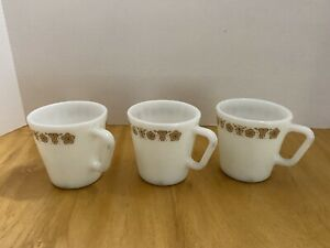 CORNINGWARE Butterfly Gold Pyrex  coffee cups. Set Of 3.