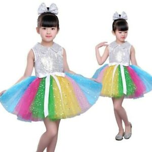 Child-girl-rainbow-sequin-ballet-tutu-ballet-dress-princess-party