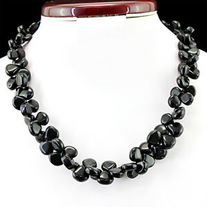 TOP-GRADE-457-00-CTS-NATURAL-RICH-BLACK-ONYX-UNTREATED-BEADS-NECKLACE-BIG-DEAL