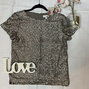 White-Company-UK-12-gold-sequin-boxy-t-shirt-party-occasion-top-clubbing-loose
