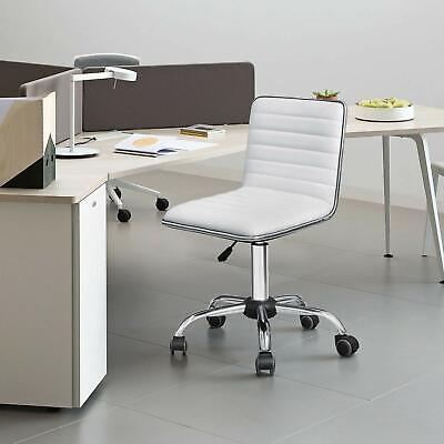 White Desk Chair Mid-Back Office Armless Swivel Rolling ...