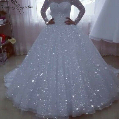 Shiny Princess Wedding Dresses 2020 Ball Gown Long Sleeves Plus