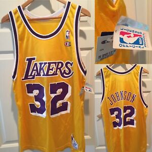 info for 18811 54fcd Details about NBA 90s Vintage Magic Johnson #32 Los Angeles Lakers Champion  Jersey 🏀Size 48