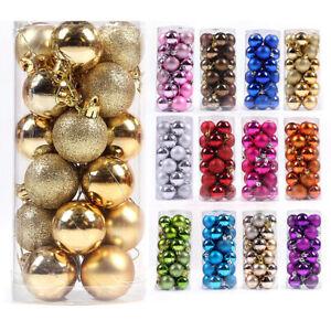 24Ps-Christmas-Xmas-Tree-Glitter-Baubles-Balls-Ornament-Hanging-Festival-Decors