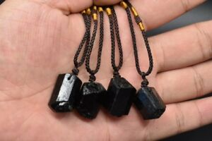 Raw Natural Black Tourmaline Schorl Pendant Chunk Reiki Chakra PROTECTION