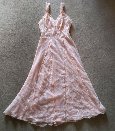Vtg 30s 40s Nightgown sz 38 luxite nylon sheer pei