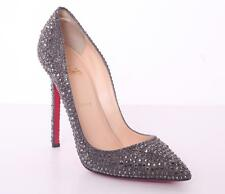 CHRISTIAN LOUBOUTIN Gray Crystal PIGALLE 120mm High Heel Pump 10-40 NEW