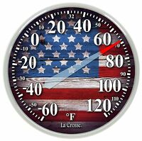 104-1534e La Crosse 13.5 Indoor/outdoor Dial Thermometer - American Flag