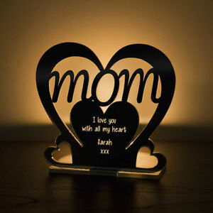 Image Is Loading Personalised Tea Light Heart Candle Holder For MOM
