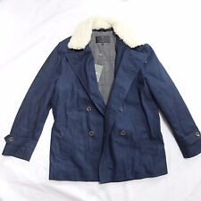 NEW 7 FOR ALL MANKIND DENIM FAUX SHEARLING PEACOAT PEA COAT JACKET XL EXTRA LRG