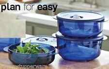 Tupperware Vent N Serve Microwave 3pc Bowls Set Round Navy Blue +Free Peeler New