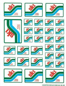 SKI NATURALLY FLAVORED CITRUS SODA DECAL ONE SHEET OF 31 UNUSED DECALS  ##2