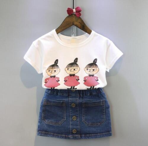 Baby kids girls summer Clothing cotton T-shirt /& denim skirt  2PCS outfits cute