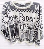 Vtg Sweater Corina Black White Newspaper News Novelty Fashion Paris Made In Usa