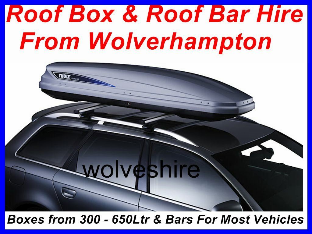 THULE 500 ROOF BOX & BARS FOR HIRE SLIM BOX IDEAL CARP FISHING CAMPING CYCLING