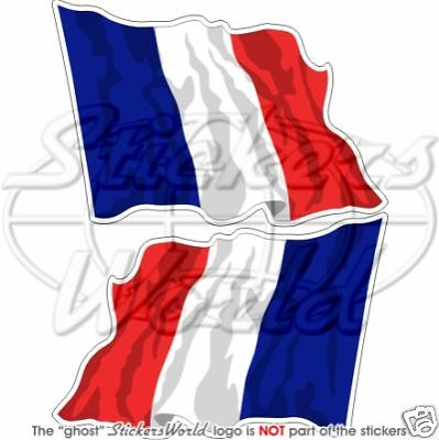 """4,7/"""" FRANCE French Flying Flag Francais 120mm Vinyl Stickers Decals x2"""
