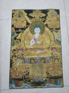 36-034-Tibet-Tibetan-Cloth-Silk-Buddhism-Golden-Buddha-Tangka-Thangka-Mural