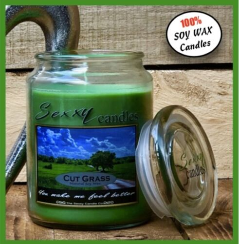 22oz Clean Burn NATURAL SOY WAX LUXURY CANDLES CUT GRASS Glass Jar Candle