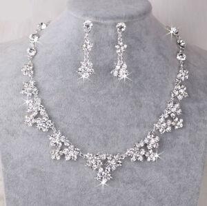 Silver-Diamante-Rhinestone-Wedding-Bridal-Bride-Necklace-Earrings-Jewellery-Set