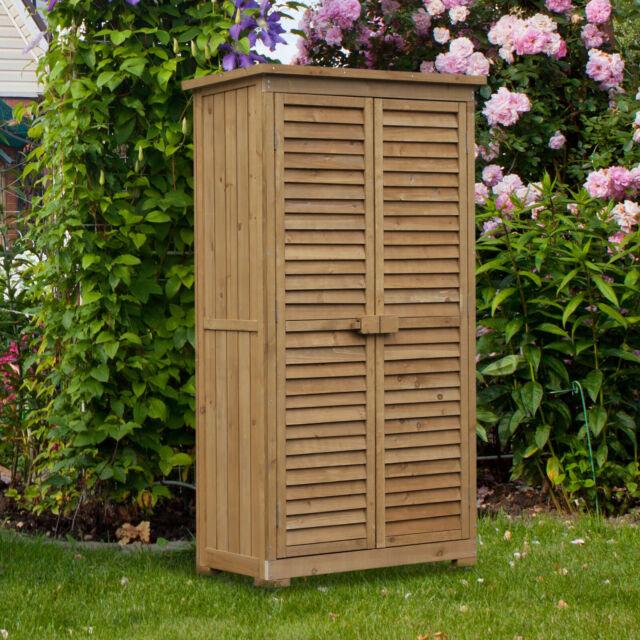 Outsunny Holz Gartenschrank Geräteschuppen Gartenhaus Geräteschrank Pultdach
