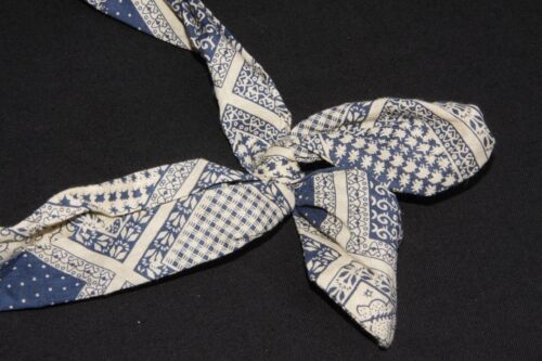 s191 Hippie Style Sand Beige /& Navy Blue Paisley Print Wire Bow Front Headband