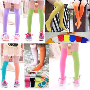 160a1018a56 Baby Kids Toddler Girls Solid Color Over Knee Socks Tights Leg ...