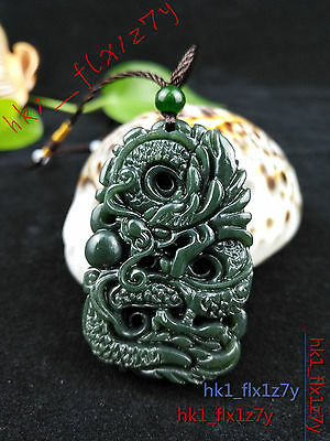 Natural China hand-carved hetian jade bullet lucky pendant necklace