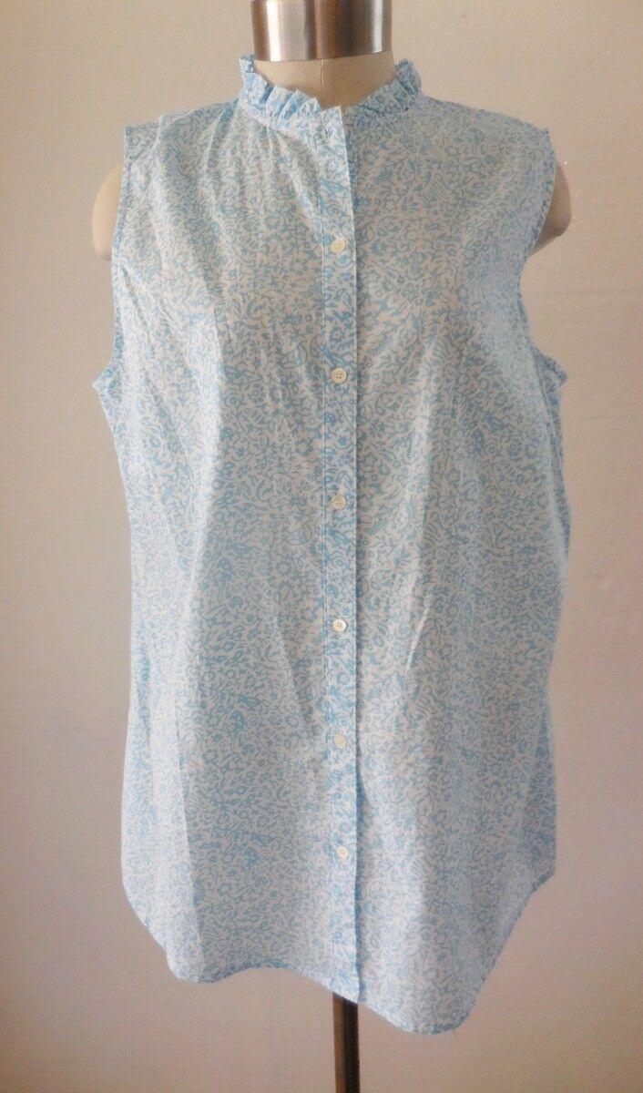 J. McLaughlin Lawn Cotton Lt Blau Floral Sleeveless Blouse Top XL NWT