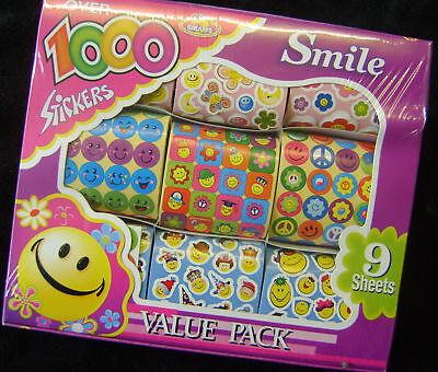 Neu Box 1000 Sticker 9 Rollen Sortiert Lächeln Happy Face Kunst /& Handwerk Fu