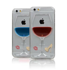 purchase cheap 0502f e99d1 Details about New Red Wine Glass 3D Gel Moving Liquid Case Cover For iphone  4 5 6 Plus UK Sell
