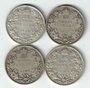 4-X-CANADA-TWENTY-FIVE-CENTS-QUARTERS-KING-GEORGE-V-800-SILVER-COINS-1920-1929