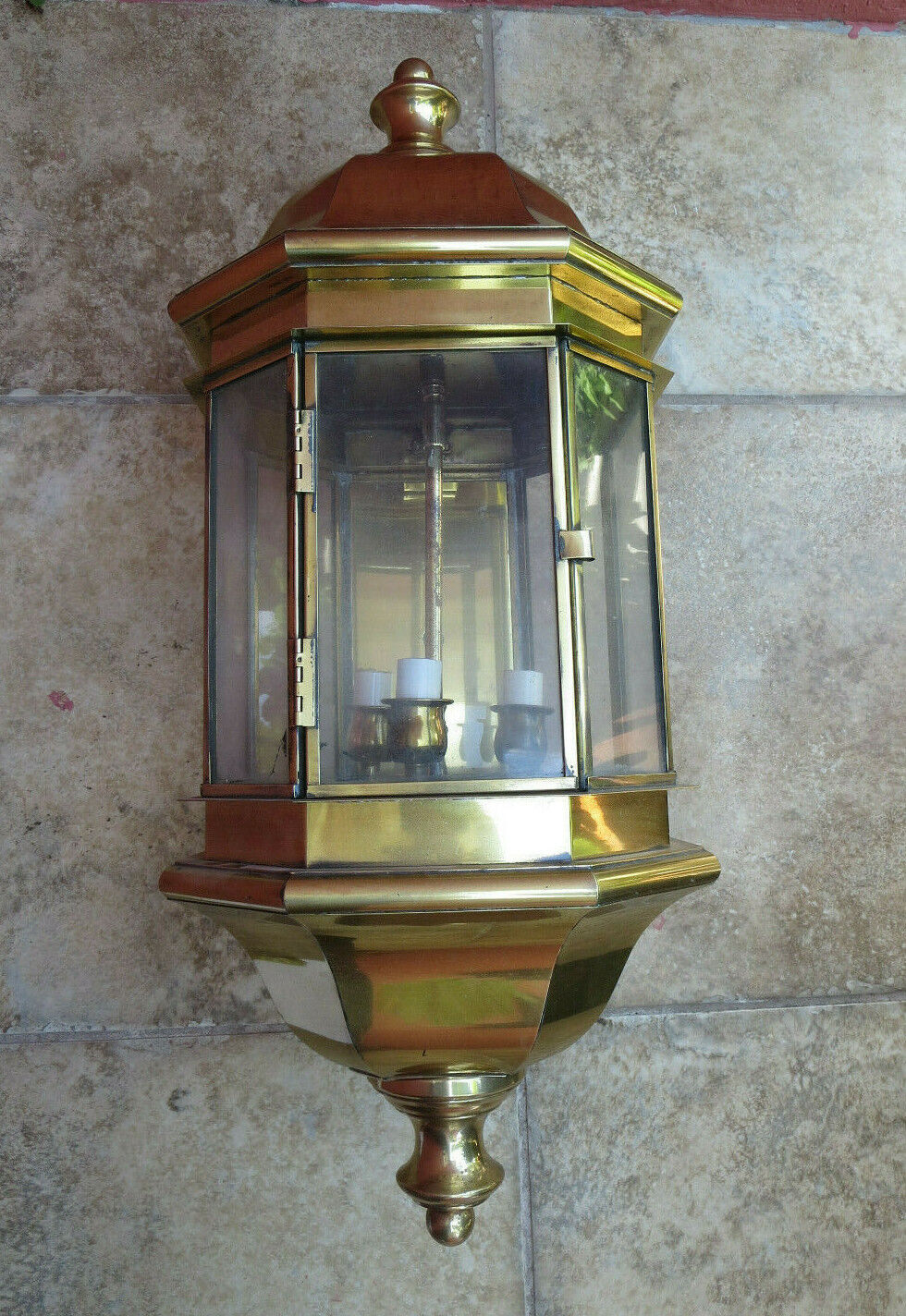 Brass Large Outdoor Wall Lantern with Tail 28  Tall