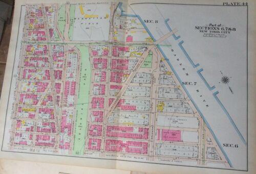 1907 MANHATTAN FIELD MAP ATLAS GW Bromley 32 x 22 NY GIANTS & YANKEES