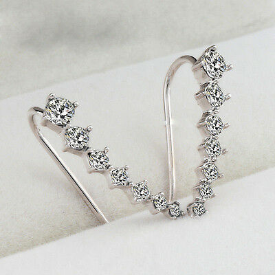 Women Fashion Rhinestone Silver Crystal Earrings Ear Hook Stud Jewelry Gift NEW