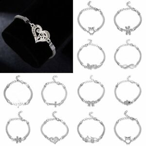 Fashion-Womens-Adjustable-Chain-Bangle-Charm-Infinity-Bracelet-Jewellery-Gift