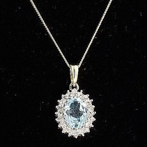 E715 Blu Topazio Topazio Topazio & Diamante Ciondolo Collana Catena D'oro 9c gioielli Delicato NUOVO 6cce67